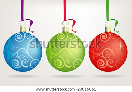 Trio of  Hanging Christmas Ornaments, Easy-edit file - stock vector