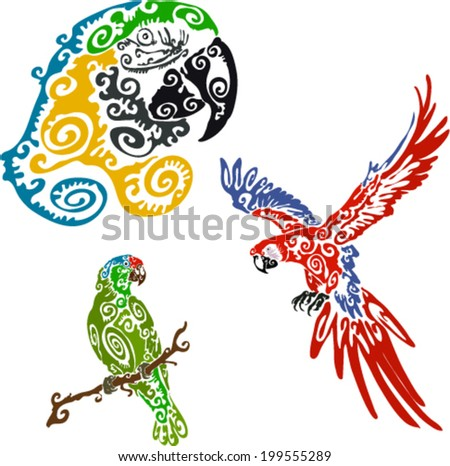 Trio Of Parrots - stock vector