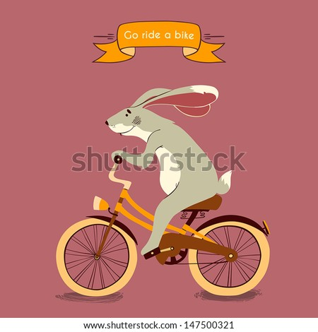 Trip. Happy bunny rides his a orange bike, illustration
