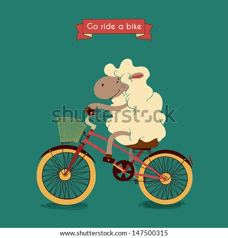 Trip. Happy lamb rides his a red bike, illustration - stock vector