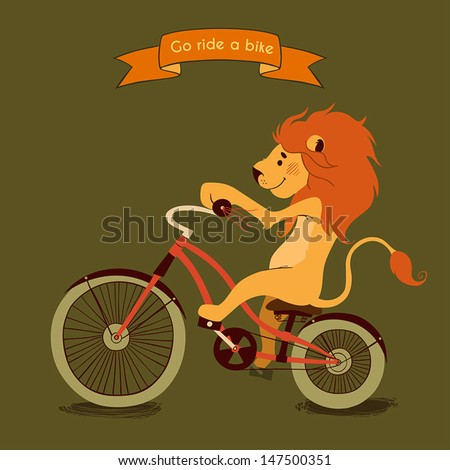 Trip. Happy lion rides his a red bike, illustration - stock vector
