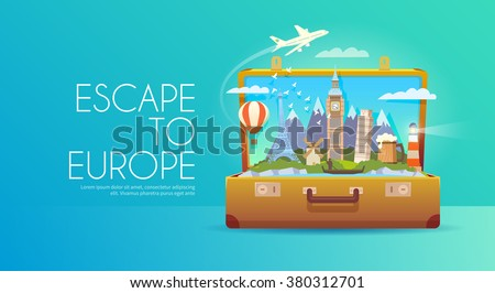 Trip to Europe. Travel to Europe. Vacation to Europe. Time to travel. Road trip. Tourism to Europe. Travel banner. Open suitcase with landmarks. Travelling illustration. Wanderlust. Flat style. EPS 10 - stock vector