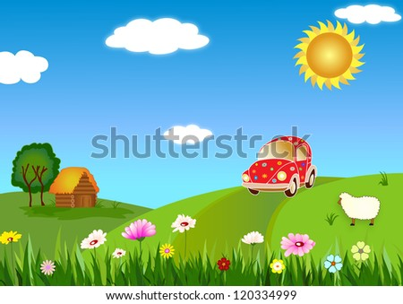 Trip to the country - stock vector