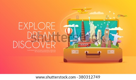 Trip to World. Travel to World. Vacation. Road trip. Tourism. Travel banner. Open suitcase with landmarks. Journey. Travelling illustration. Modern flat design. EPS 10. Colorful. - stock vector