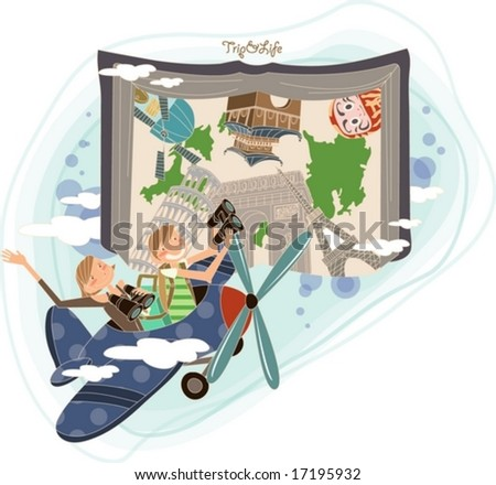 Trip Worldwide by Airplane - Flying happy smiling young woman and man with telescope at famous tourist attractions on a background of beautiful open book and blue sky - stock vector
