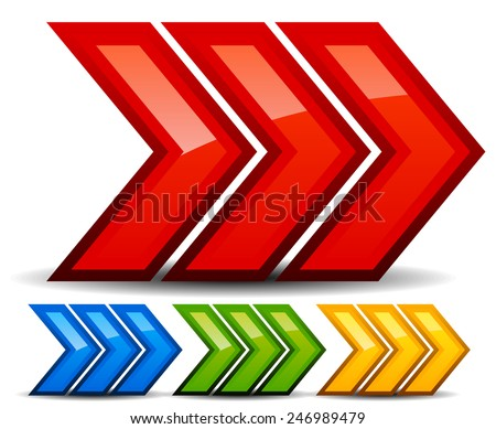 Triple 3 arrows, arrowheads right. (Red, blue, green and yellow version included.) - stock vector