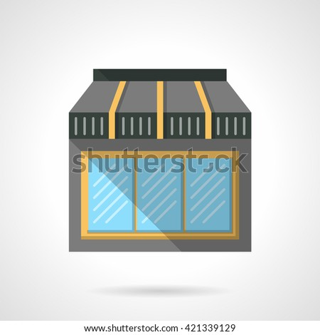 Triple glass window showcase for cafe with awning. Storefronts and showcases. Commercial buildings facade.  Flat color style vector icon. Web design element for site, mobile and business. - stock vector