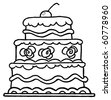 Triple Tiered Outlined Wedding Cake With Frosting And A Cherry - stock photo