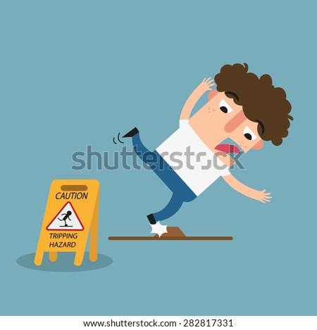 Tripping hazard caution sign.Danger of stumbling isolated illustration vector - stock vector