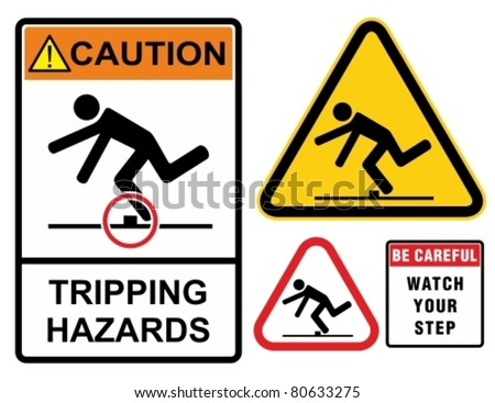 Tripping hazards, warning sign. Construction industry safety. - stock vector