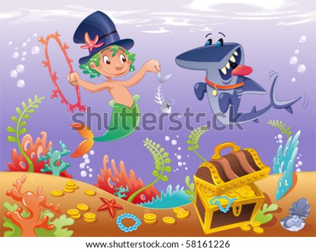 Triton with shark with background. Funny cartoon and vector characters. - stock vector