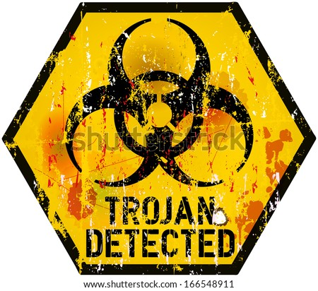 trojan / computer virus alert sign, vector illustration - stock vector