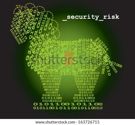 Trojan horse security risk - stock vector