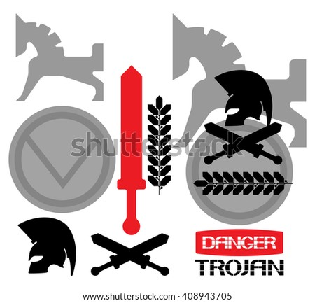 Trojan icon. Variations on the theme of computer security development ,of pictorial expression. - stock vector