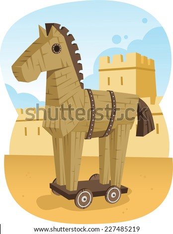 Trojan Wooden Horse Ancient Greece Animal Troy War, vector illustration cartoon. - stock vector