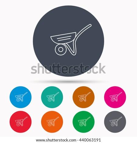 Trolley icon. Garden cart sign. Gardener equipment symbol. Icons in colour circle buttons. Vector - stock vector