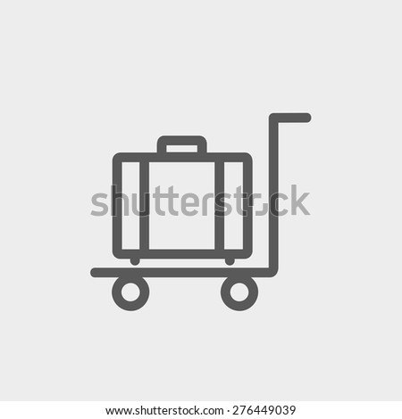 Trolley luggage icon thin line for web and mobile, modern minimalistic flat design. Vector dark grey icon on light grey background. - stock vector