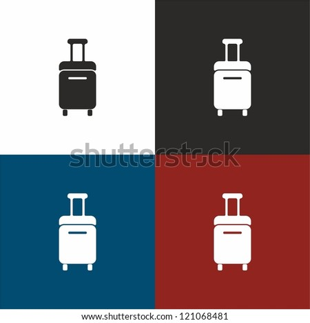 Trolley, travel, bag, vector, icon - stock vector