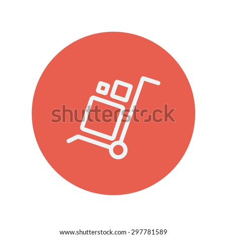 Trolley with boxes thin line icon for web and mobile minimalistic flat design. Vector white icon inside the red circle. - stock vector
