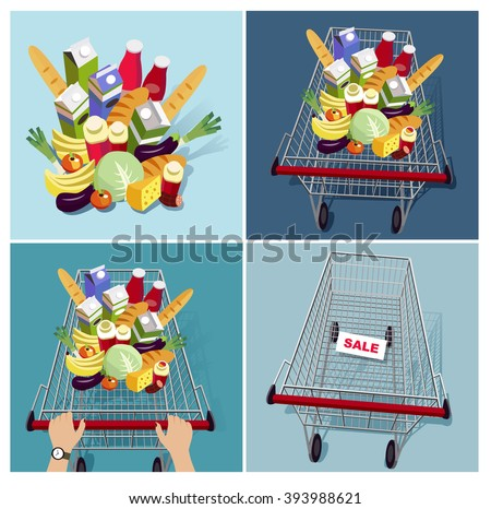 trolley with food in supermarket (vector illustration)