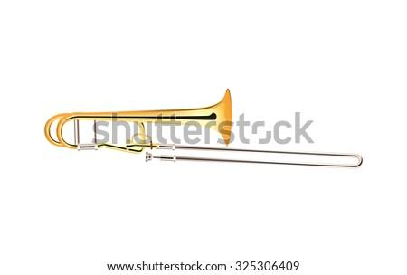 Trombone - Brass Musical Instrument, Vector Illustration isolated on white - stock vector