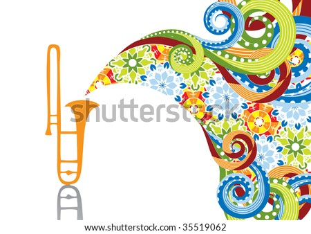 Trombone in abstract collage. Format A4. Vector illustration. Isolated groups and layers. Global colors. - stock vector