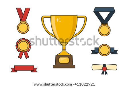 Trophy and awards colorful line icons set with winner cup medals and ribbons