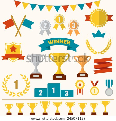 Trophy and awards icon set: laurel wreath, winning trophy cup, crown, medals, pedestal, flags, ribbons. Colorful vector illustration. - stock vector
