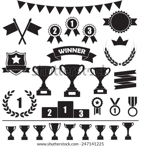 Trophy and awards icon set: laurel wreath, winning trophy cup, crown, medals, pedestal, flags, ribbons. Vector illustration isolated on white background. - stock vector