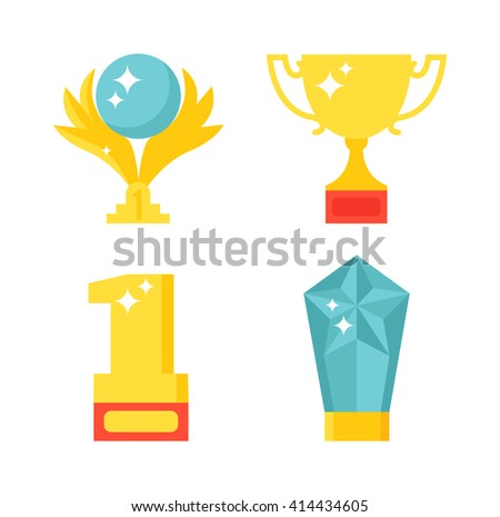 Trophy and awards icons set. Award icons vector and flat award icons prize. Award icons medallion honor and award icons winner symbol.  Achievement icon prize design victory set. Badge cup emblem. - stock vector