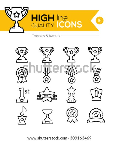 Trophy and Awards Line Icons - stock vector