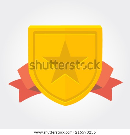 Trophy and awards shield in flat design style