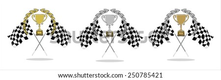 Trophy and Flag- hands sketch vector illustration - stock vector