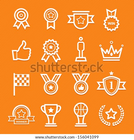 Trophy and prize symbol line icon on orange background vector illustration - stock vector