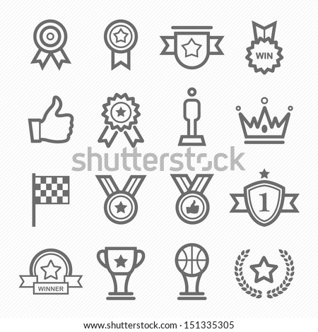 Trophy and prize symbol line icon on white background vector illustration - stock vector