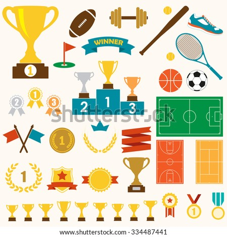 Trophy, awards and sports icon set: winning trophy cup, medals, pedestal, flags, ribbons, balls, sport fields. Colorful vector illustration. - stock vector