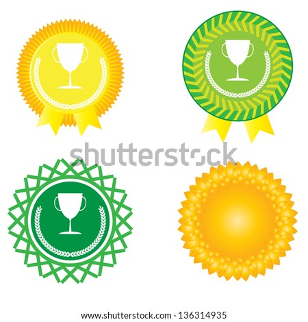 Trophy badge and yellow flower badge. vector format - stock vector