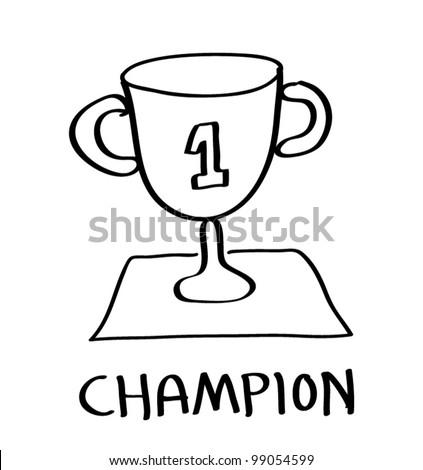 trophy champion cartoon - stock vector