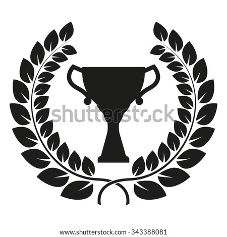 Trophy cup and laurel wreath isolated on white background. First place award or Champions cup icon. Vector illustration. - stock vector