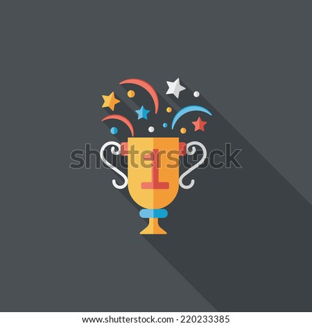 trophy cup flat icon with long shadow,eps10 - stock vector