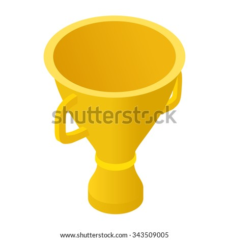 Trophy cup isometric 3d icon isolated on white background - stock vector