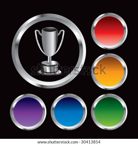 trophy cup on colored round buttons - stock vector