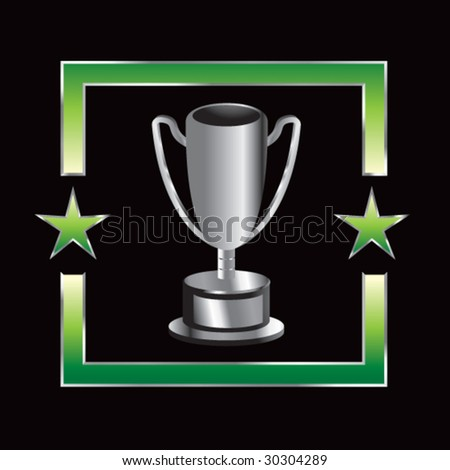 trophy cup on green star background - stock vector