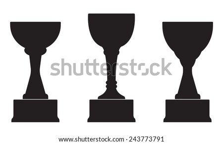 Trophy Cup on prize podium. First, second and third place award. Champions or winners Infographic elements. Black Vector illustration on white background.  - stock vector