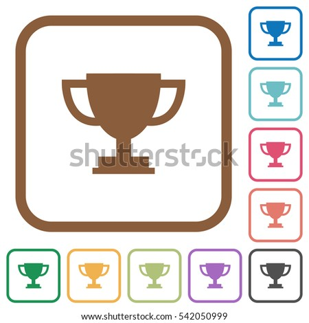 Trophy cup simple icons in color rounded square frames on white background