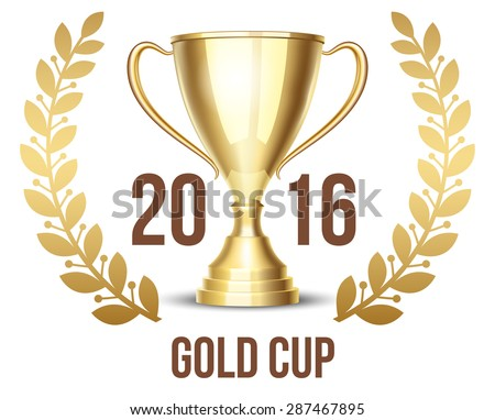 Trophy cup with laurel wreath 2016. Success trophy, achievement and wreath, competition victory winner, gold prize, vector illustration - stock vector