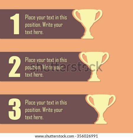 Trophy Cups and award concept. Champions or winners cups icons. Sport Infographic elements with space for text. Vector illustration.  - stock vector