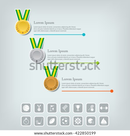 Trophy Cups and award concept. Champions or winners cups icons. Sport Infographic with icons. Vector illustration. - stock vector