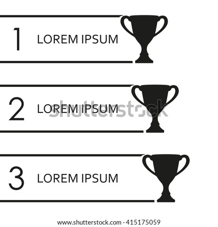 Trophy Cups infographics template. 1, 2, 3 place award. Vector illustration. - stock vector