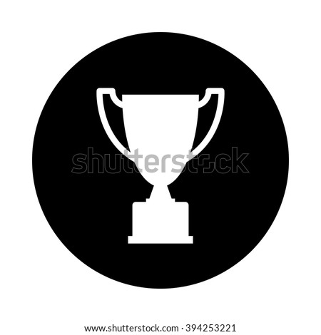 Trophy Icon Black Round Isolated On White Background Silhouette Simple Circle